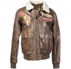 BROWN LEATHER AVIATOR JACKET WITH BADGES