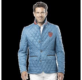 Veste blazer matelassée bleue pétrole col bleu blanc rouge