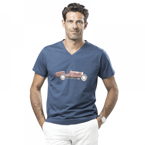 T-Shirt bleu en coton pour Homme Col V écusson