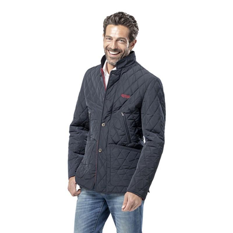 veste matelass e bleu marine avec logo brod rouge pour homme. Black Bedroom Furniture Sets. Home Design Ideas