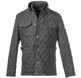 BLACK ALCANTARA QUILTED JACKET