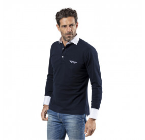 NAVY BLUE & WHITE LONG SLEEVES POLO SHIRT
