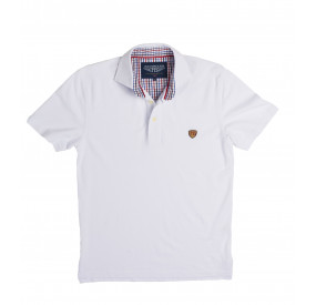 POLO BLANC COL CARREAUX