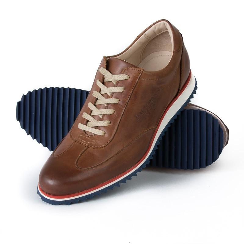 0057781550cee3 Chaussures sneakers en cuir marron avec semelle tricolore pour Homme