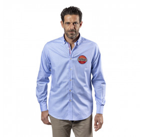 BLUE-SKY SHIRT WITH CHECKED COLLAR