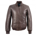 BLACK LEATHER BOMBER JACKET WITH QUILTED EFFECT
