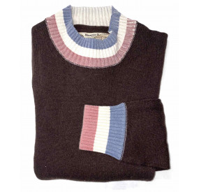 PULL LAINE COL ROND  MARRON BBR