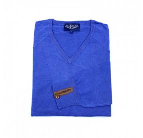 Pull Col V Coton et Soie Bleu Français