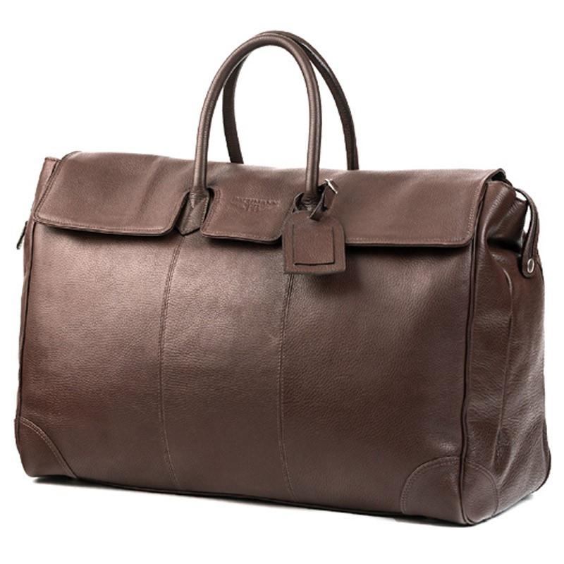 magnifique sac de voyage en cuir de vachette marron 48h. Black Bedroom Furniture Sets. Home Design Ideas