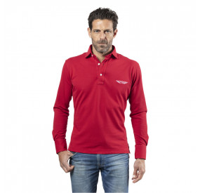 ELEGANCE RED LONG SLEEVES POLO SHIRT WITH NAVY ELBOW PADS