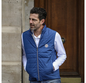 NAVY CARDIGAN WITH BLUE WHITE RED COLLAR