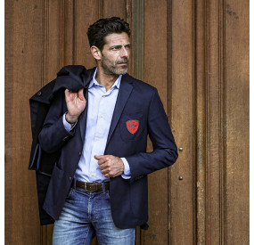 NAVY JACKET WITH RED PATCH
