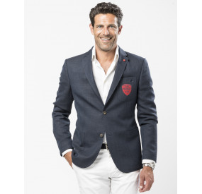 WOOL NAVY JACKET WITH RED PATCH