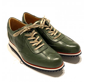 DARK GREEN LEATHER SNEAKERS